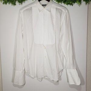 Giorgio Armani White Tuxedo Shirt, Size 42, 15 1/2